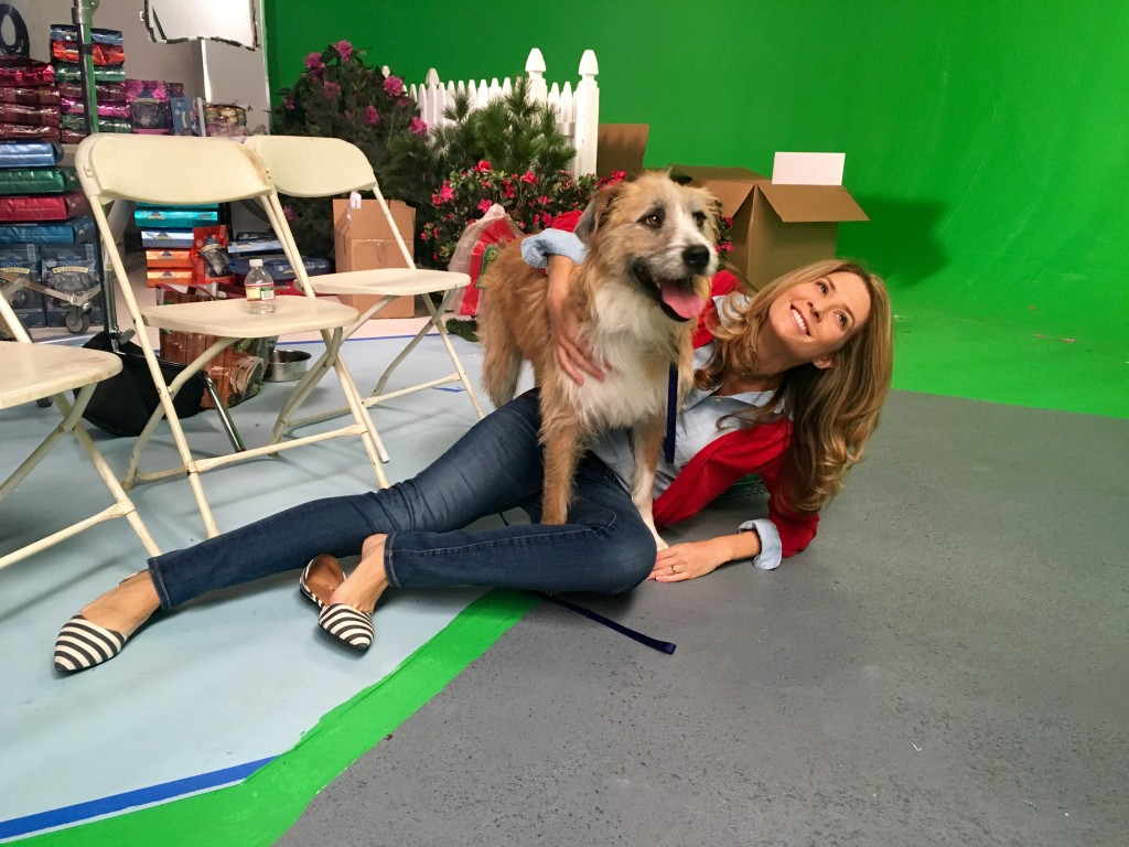 Behind the scenes with my co-star, Chester.
