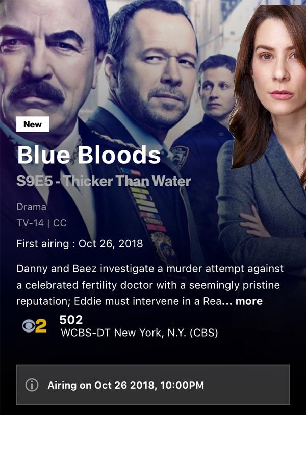 My BLUE BLOODS Episode Airs 10/26! - Heather Brittain O'Scanlon